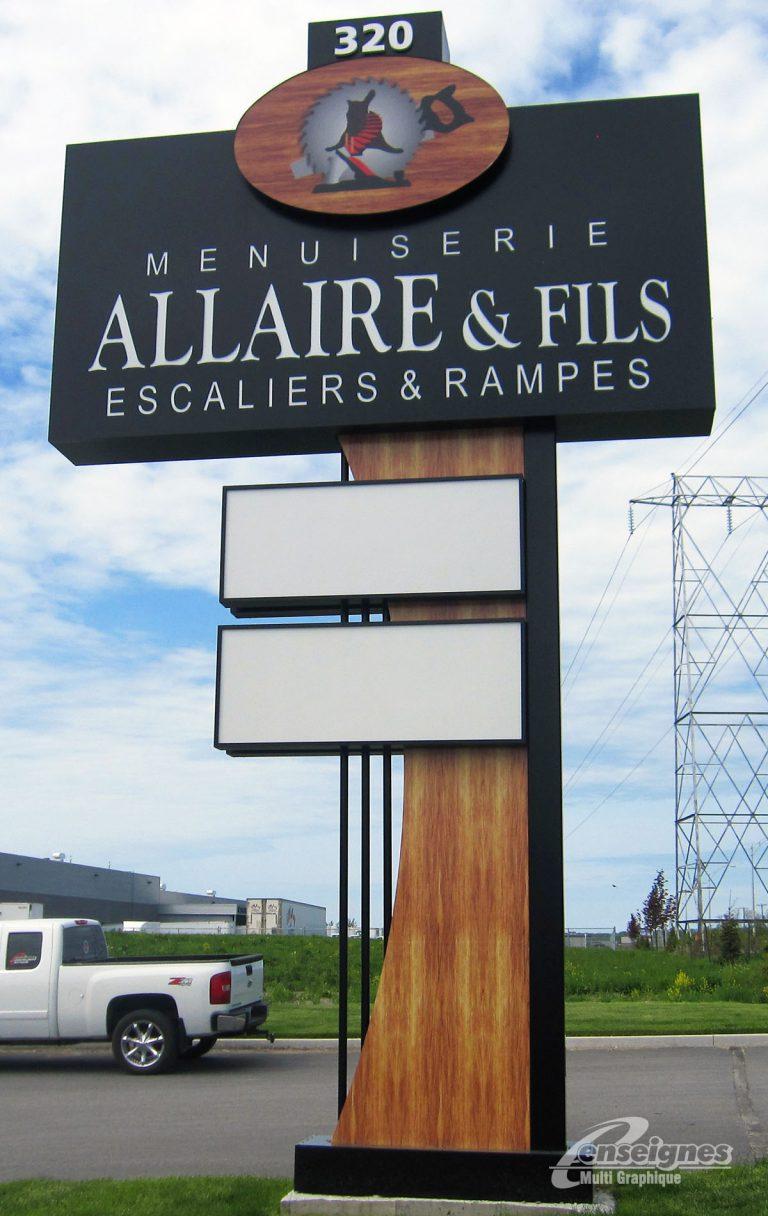 Enseigne pylône MENUISERIE ALLAIRE & FILS
